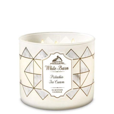 Bath & Body Works 3 Wick Candle Pistachio Ice Cream, Roasted Pistachio, Almond Extract, Vanilla Extract By White Barn - Halloween Candles Bath And Body Works