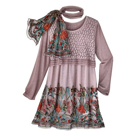 Women's Tunic Top 'N Scarf Set - Embroidered Garden Layered  Blouse