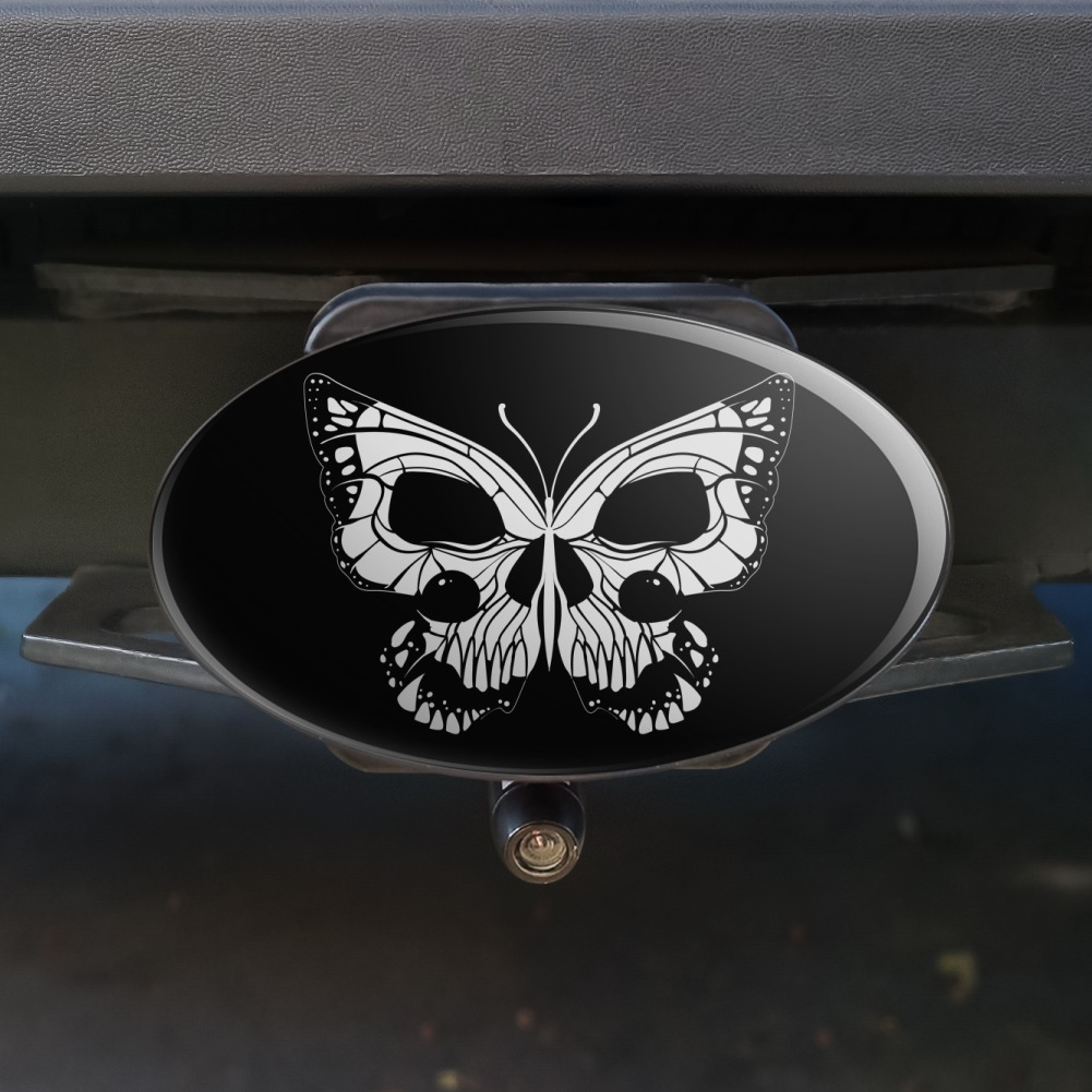 Butterfly Skull Insect Oval Tow Hitch Cover Trailer Plug Insert 2