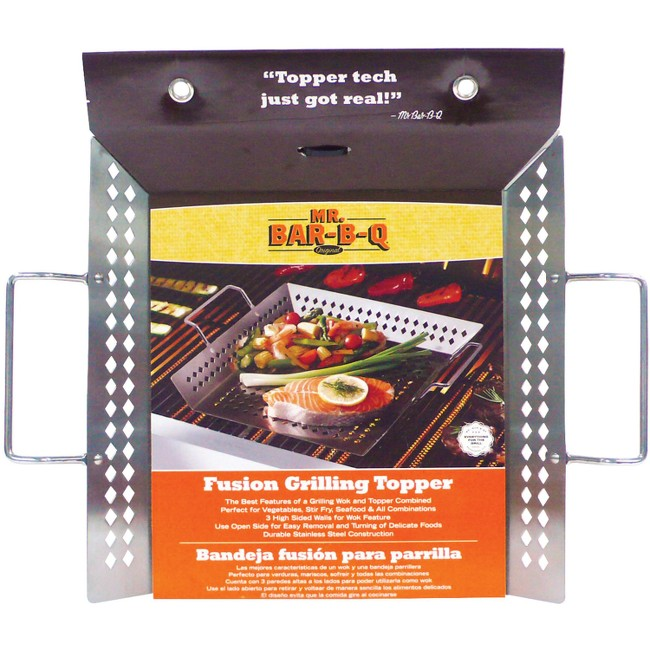 Mr. Bar-B-Q - Stainless Steel Fusion Grilling Topper with Wire Handles