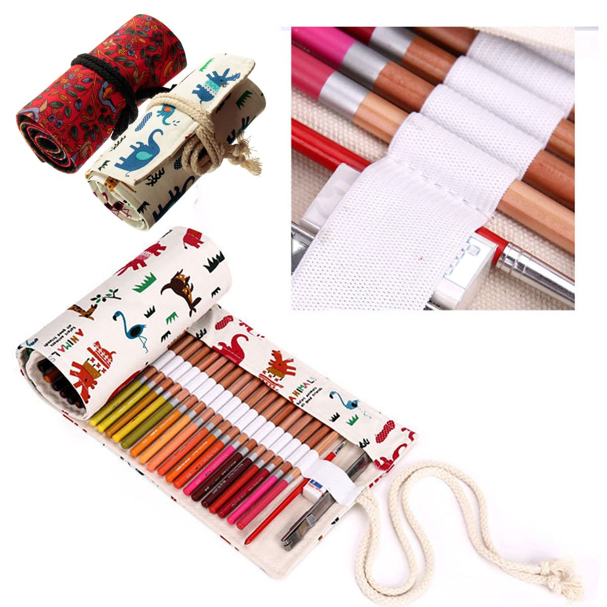 Canvas 48 Colored Pencil Wrap Roll Up Case, Travel Pen Holder Organizer, Best Gift for Kids Adult