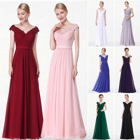 Ever Pretty Womens Elegant Floor Length Beaded Lace V Neck