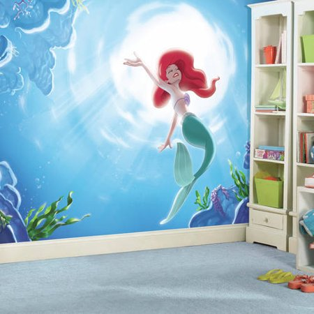 "RoomMates Disney Princess The Little Mermaid ""Part of your World"" XL Chair Rail Prepasted Ultra-Strippable Mural, 6"