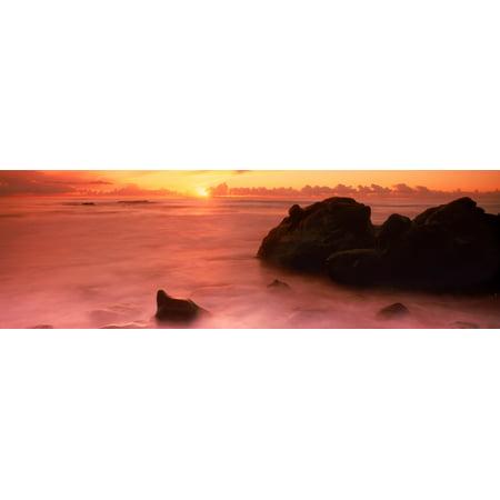 Rock formations on the coast Laguna Beach Orange County California USA Canvas Art - Panoramic Images (6 x 18)
