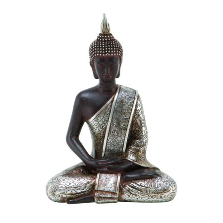 Decmode 8 Inch Eclectic Resin Meditating Thai Buddha Sculpture, (Religious Sculpture)