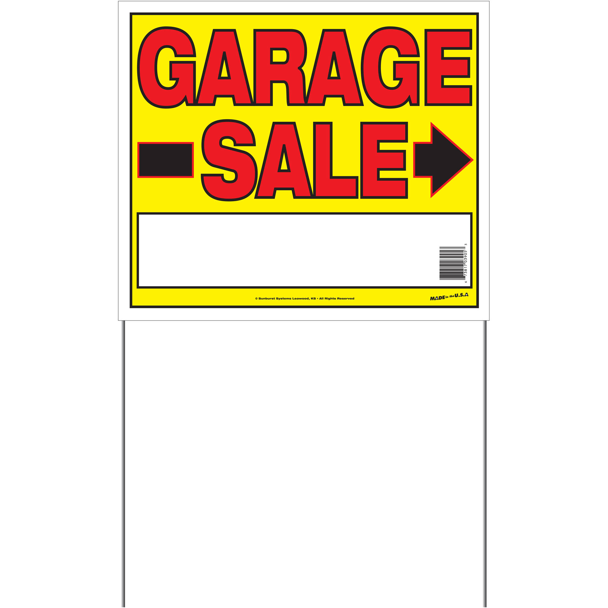 Sunburst Systems Medium 2-Sided Garage Sale Sign with Metal U-Stake by Sunburst Systems