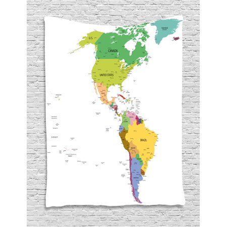 Map Tapestry, Map of South and North America with Countries Capitals ...