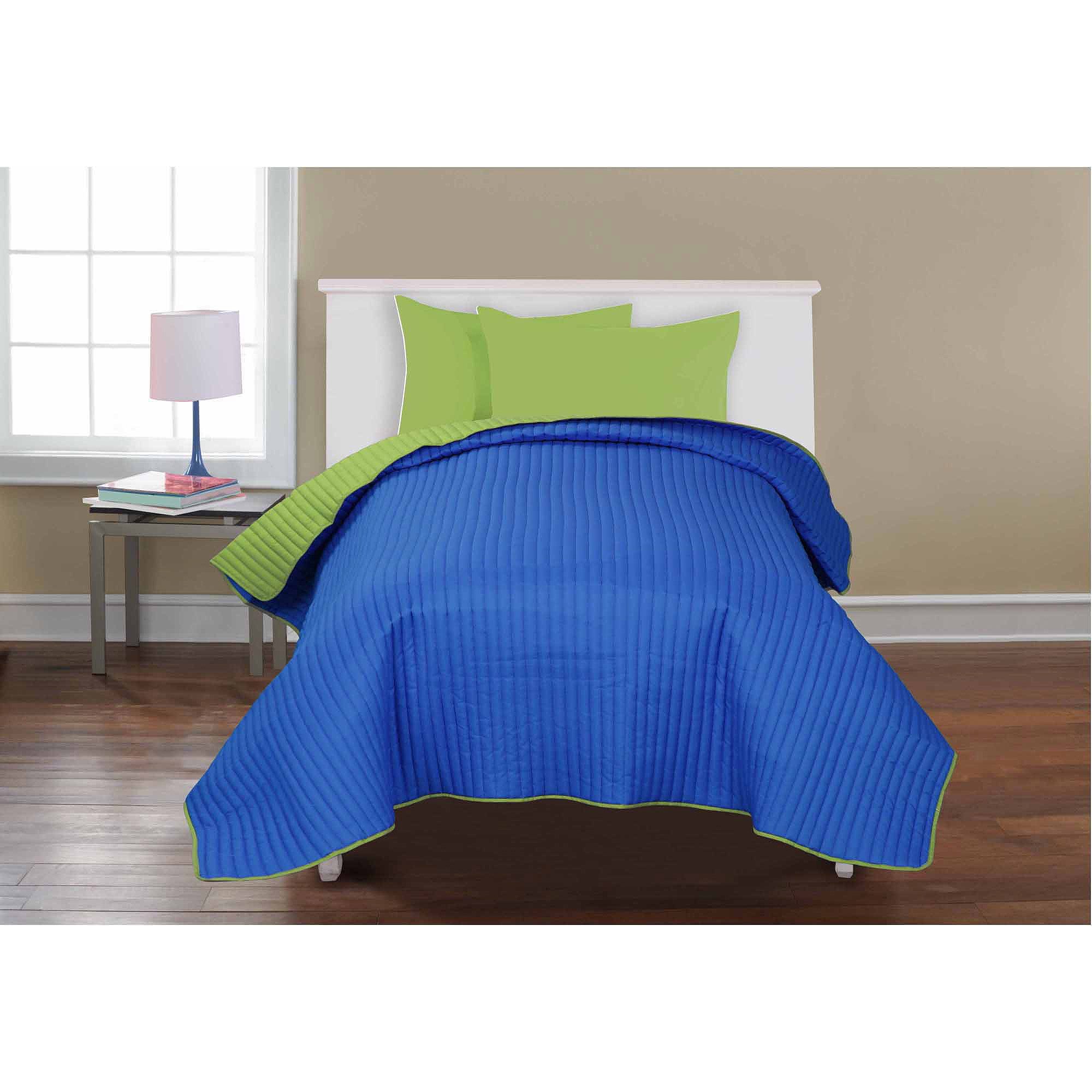 Mainstays Kids' Reversible Quilt, Blue & Lime