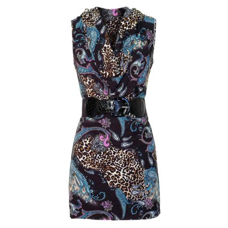 Multicolor Print Short Mini Dress With Draped Neckline