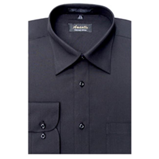 Amanti CL1002-14 1/2x32/33 Amanti Men's Wrinkle Free Solid Black Dress Shirt