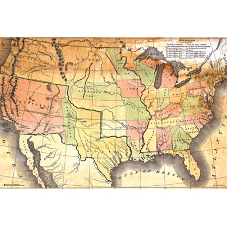 Antique USA Map Poster X In A Black Wood Frame Walmartcom - Us map poster walmart