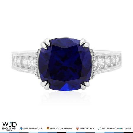 5ct Sapphire - 5Ct Cushion-Cut Blue Sapphire & Created Diamond Engagement Ring 14K White Gold Size 5-8