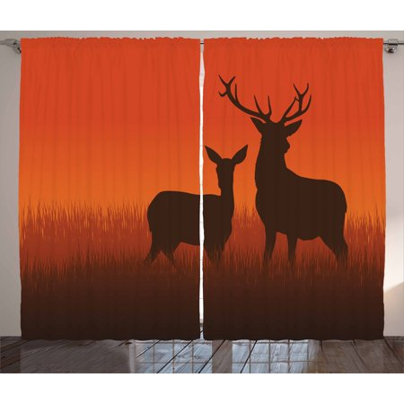 Hunting Curtains 2 Panels Set, Silhouette Illustration of a Deer and Doe on Meadow Animals Autumn Season Skyline, Window Drapes for Living Room Bedroom, 108W X 63L Inches, Multicolor, by Ambesonne