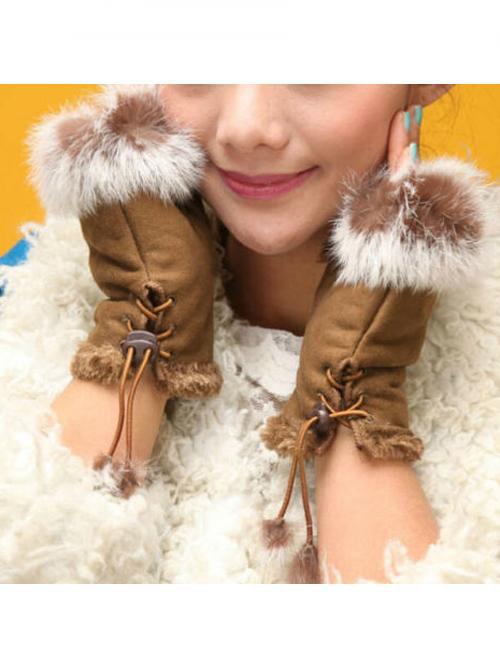 Women's Winter Faux Rabbit Fur Faux Leather Fingerless Mittens Wrist Gloves