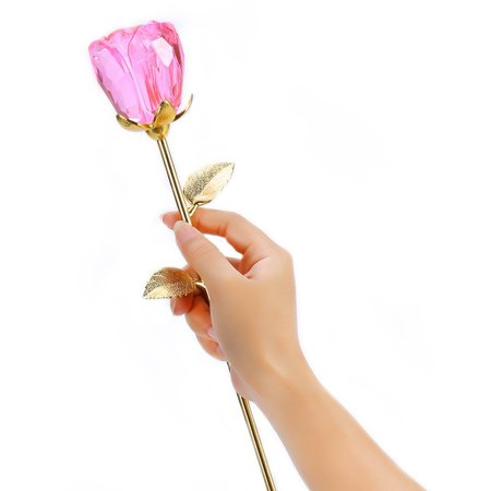 Glass Rose Flower  24K Gold Plated Long Stem Artificial Rose Flower Anniversary Birthday Valentines Gift For Her  Bud Pink
