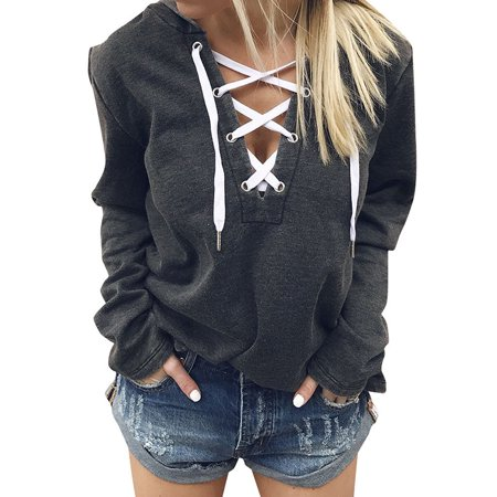 ZXZY Women V Neck Lace Up Long Sleeve Hoodie Top ()