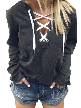 Product Image ZXZY Women V Neck Lace Up Long Sleeve Hoodie Top bd38228ccb