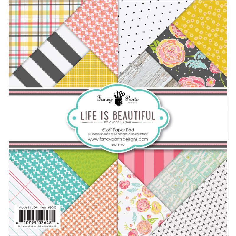 "Fancy Pants Designs Single-sided Paper Pad 6""x6"" 32/pkg -life Is Beautiful, 16 Designs/2 Each"