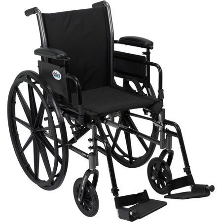 Drive Medical Cruiser Iii Light Weight Wheelchair With Flip Back Removable Arms  Adjustable Height Desk Arms  Swing Away Footrests  18