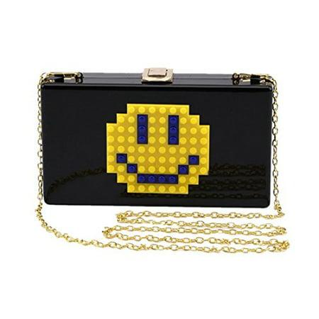 Marchome Acrylic Smiley Face Clutch Purse Evening Handbags Crossbody Bags for Women Black Acrylic Purse Base