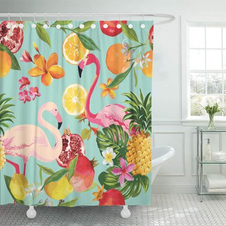Orange Tropical Fruit - KSADK Tropical Fruits and Flamingo Pattern in Pomegranate Lemon Orange Flowers Leaves Shower Curtain 66x72 inch
