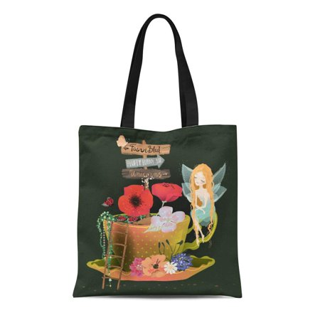 ASHLEIGH Canvas Tote Bag Cute Dreaming Fairy Sitting Garden in Tea Cup Flowers Reusable Shoulder Grocery Shopping Bags Handbag