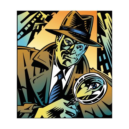 Retro Detective Looking Through Magnifying Glass in City Print Wall Art By David Chestnutt - Detective Magnifying Glass
