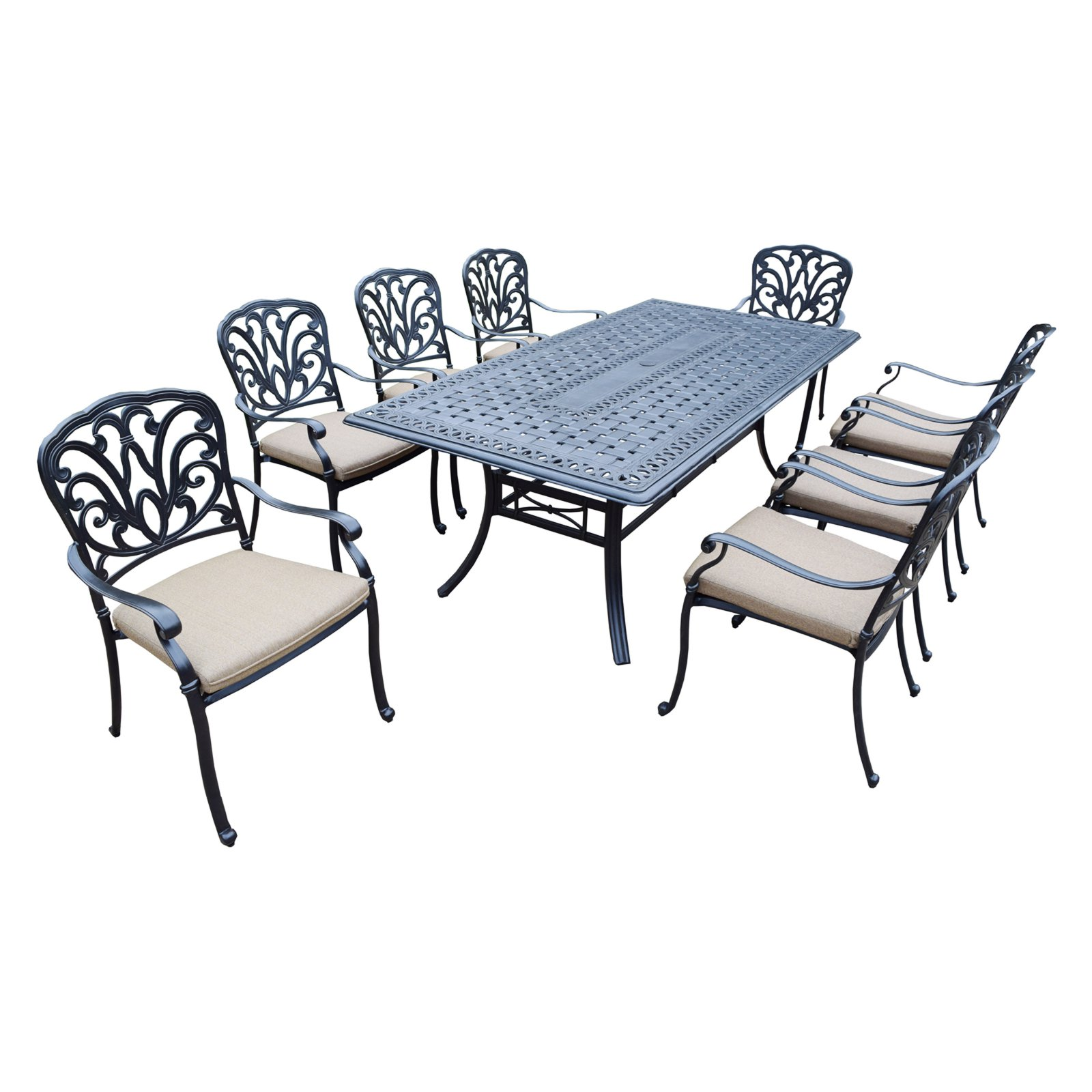 Oakland Living Hampton 9 Piece Rectangular Patio Dining Set with Stackable Chairs