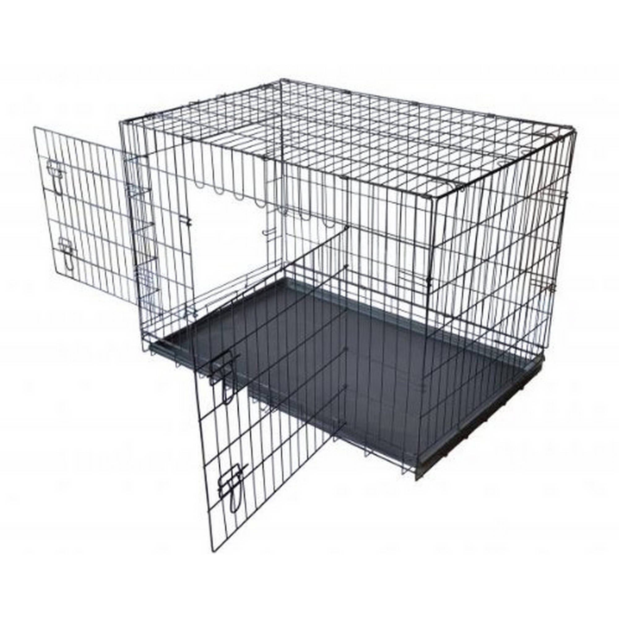 "Aleko SDC-2D-42B Wire Mesh Dog Cage 42"" Black, 2 Door"