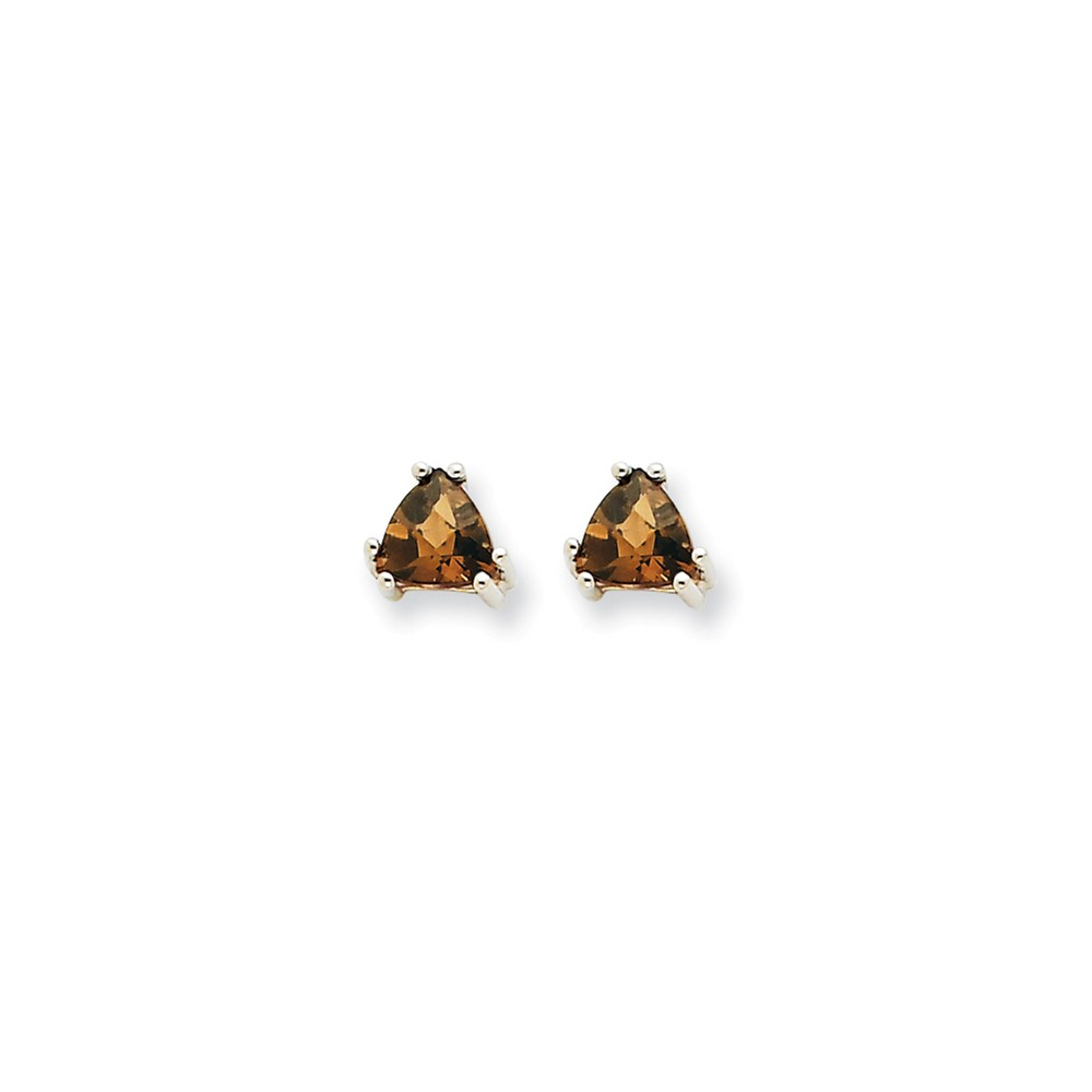 14k White Gold 5mm Trillion Smokey Quartz Earrings. Gem Wt- 0.7ct