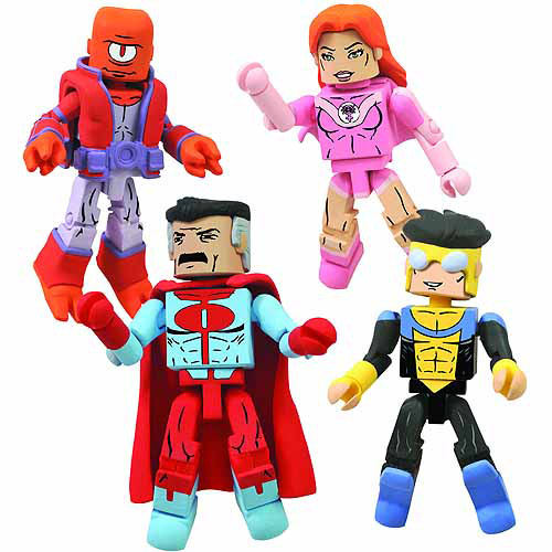 Diamond Toys Minimates Invincible, Atom Eve, Omni-Man & A...