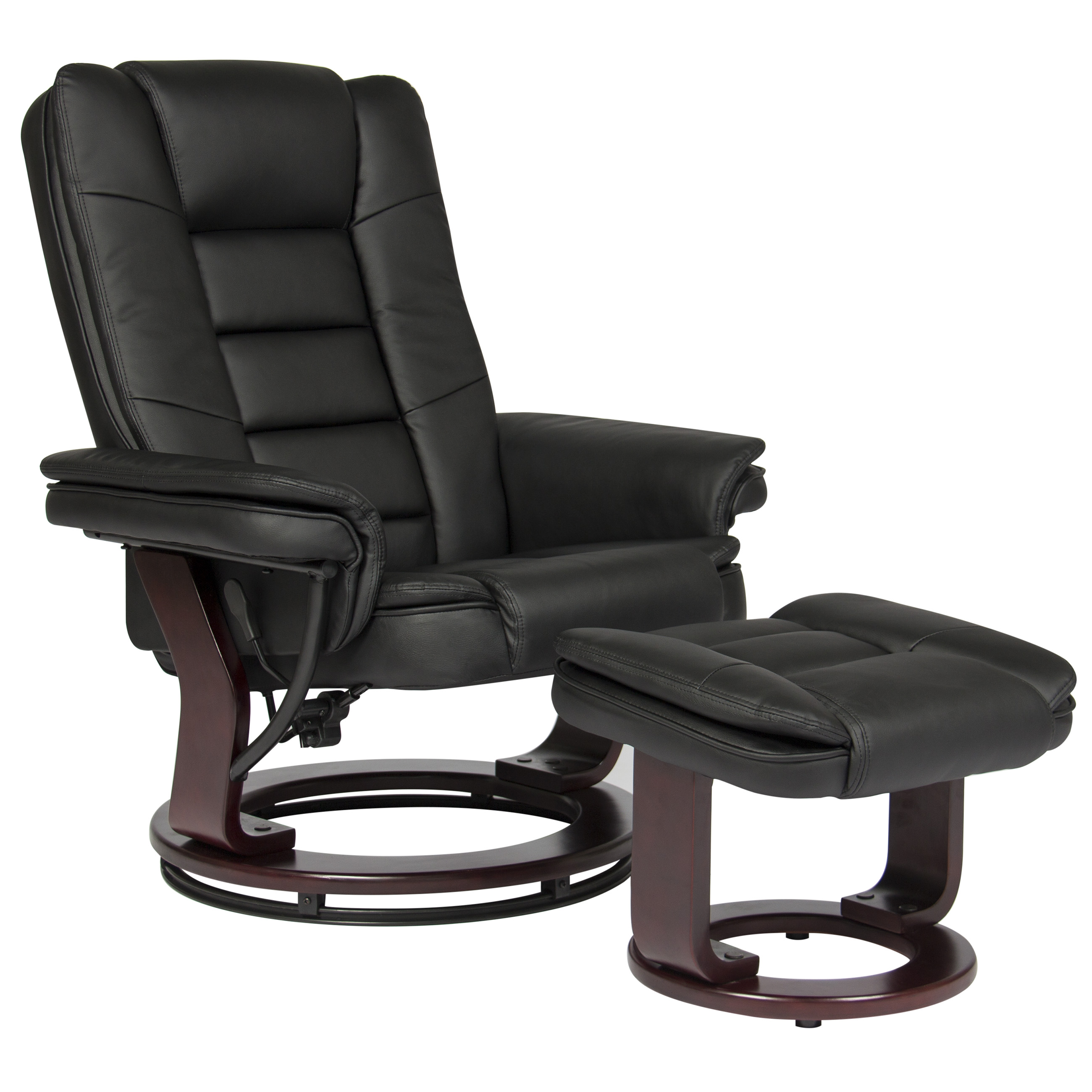 Best Choice Products Contemporary Leather Swivel Recliner Ottoman W  Wood Base by