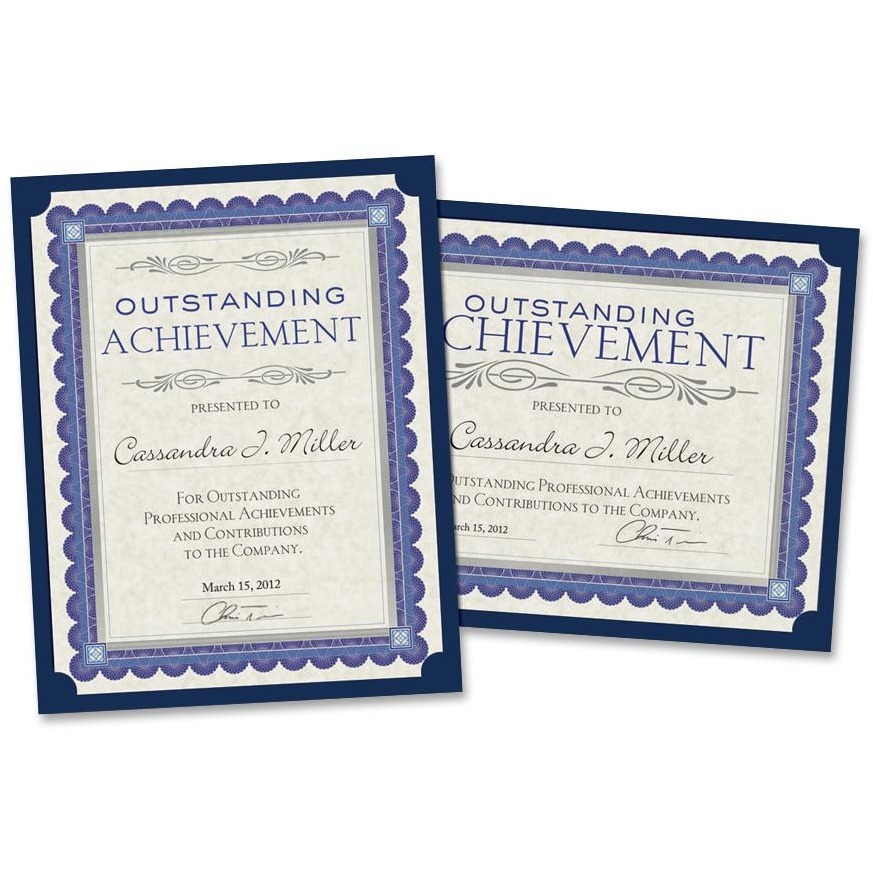 Southworth, SOUPF8, Certificate Holders, 10 / Pack, Navy Blue