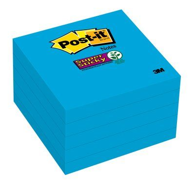 """Post-it Super Sticky Notes Mediterranean Blue 5 Pack, 3"""" x 3"""", 90 Sheets per Pad"""