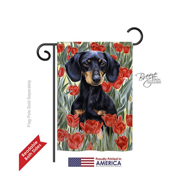 Breeze Decor 60080 Pets Dachsund In Tulips 2-Sided Impression Garden Flag - 13 x 18.5 in. - image 1 of 1