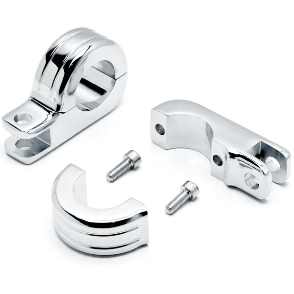 "Krator Chrome 1-1/4"" Engine Guard Tube Bar Footpeg Clamps for Harley Davidsons / Metric"