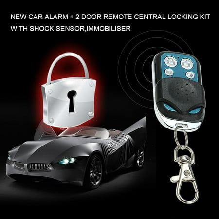 NEW CAR ALARM + 2 DOOR REMOTE CENTRAL LOCKING KIT WITH SHOCK SENSOR,IMMOBILISER - image 2 de 7