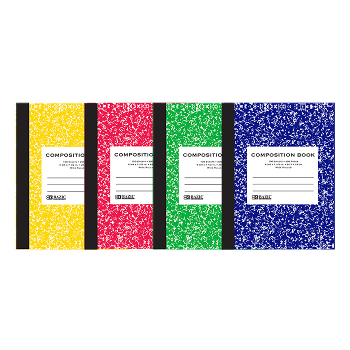 BAZIC W/R 100 Ct. Assorted Color Marble Composition Book, Case of 48