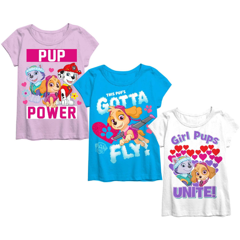 Paw Patrol Toddler Girl Short Sleeve Tee Shirts 3 Pack