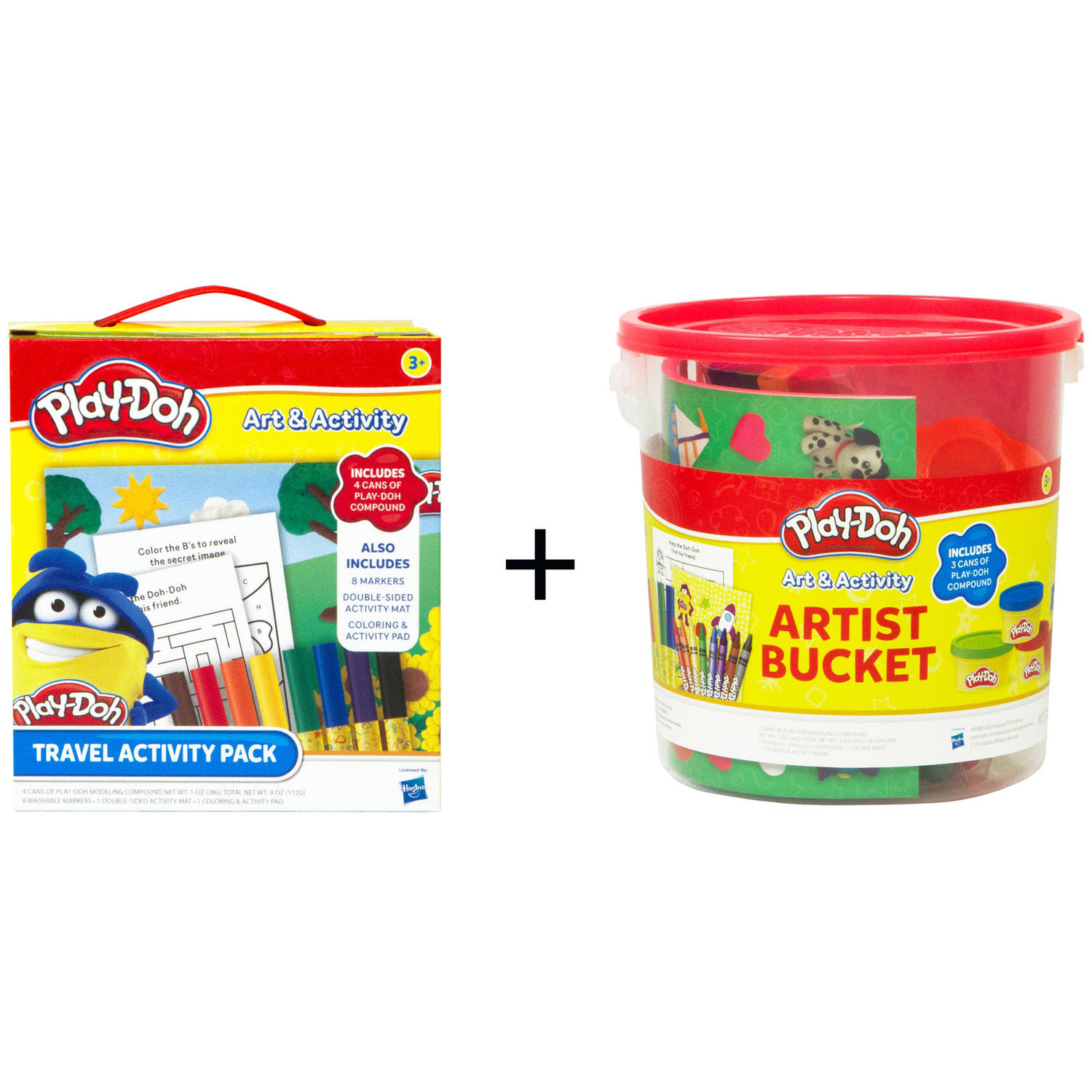 Play-Doh Travel Activity Pack and Play-Doh Large Activity Bucket Combo Set