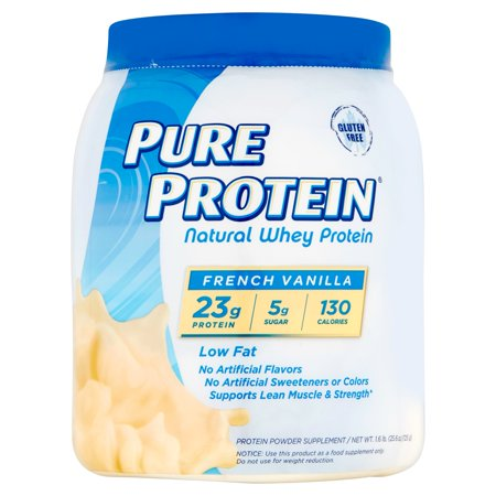 Pure Protein French Vanilla Natural Whey Protein Powder Supplement  25 6