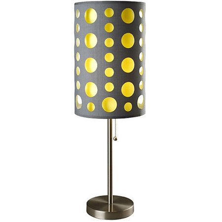 Ore international modern retro table lamp gray yellow for Table decor international inc
