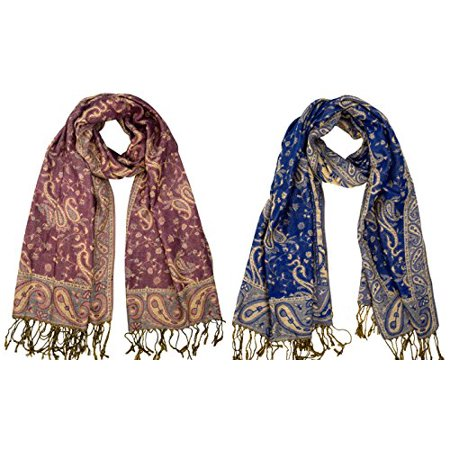 2c1d9bd176 Peach Couture Elegant Reversible Paisley Pashmina Shawl Wrap (Pink/Royal  Blue 2 pack) ...