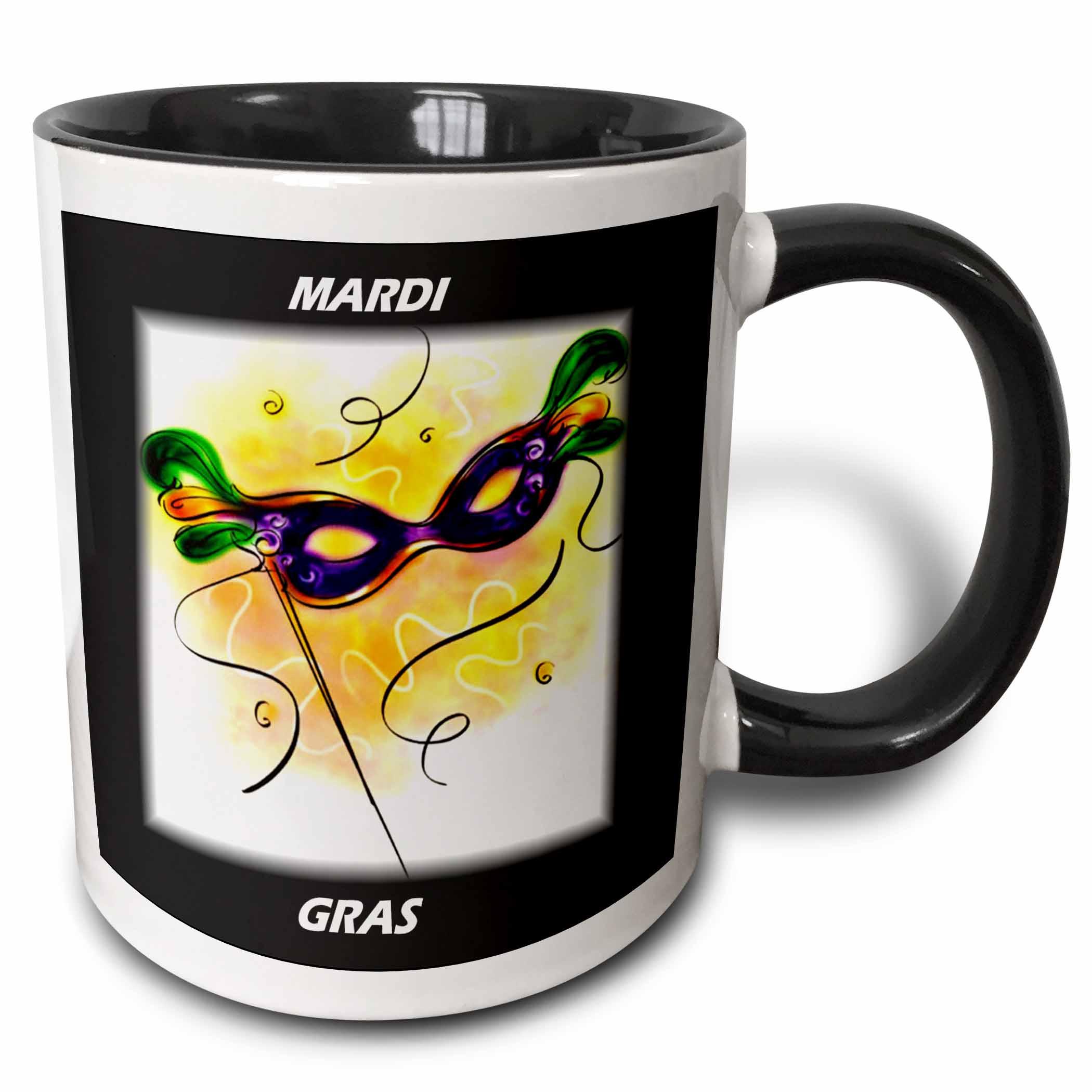 3dRose Mardi Gras Feather Mask, Two Tone Black Mug, 11oz