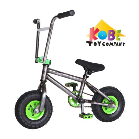 "Kobe ""Rusty Rat Rod"" Mini BMX - Off-Road to Skate Park, Freestyle, Trick, Stunt Bicycle 10"" Wheels for Adults and Kids - Green - image 11 de 12"