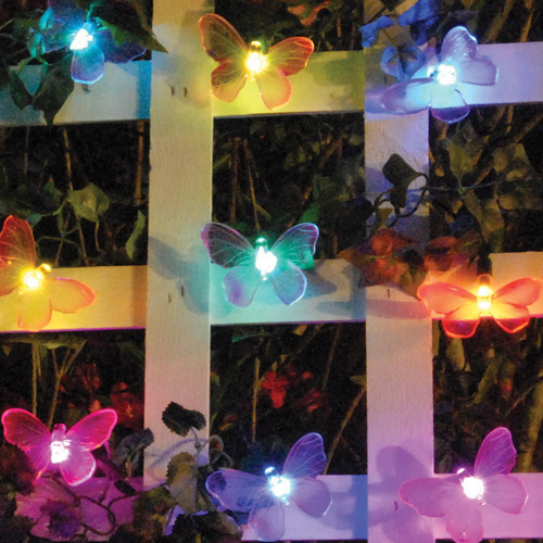 Smart Solar Color-Changing Light String, 20 Pieces, Butterfly