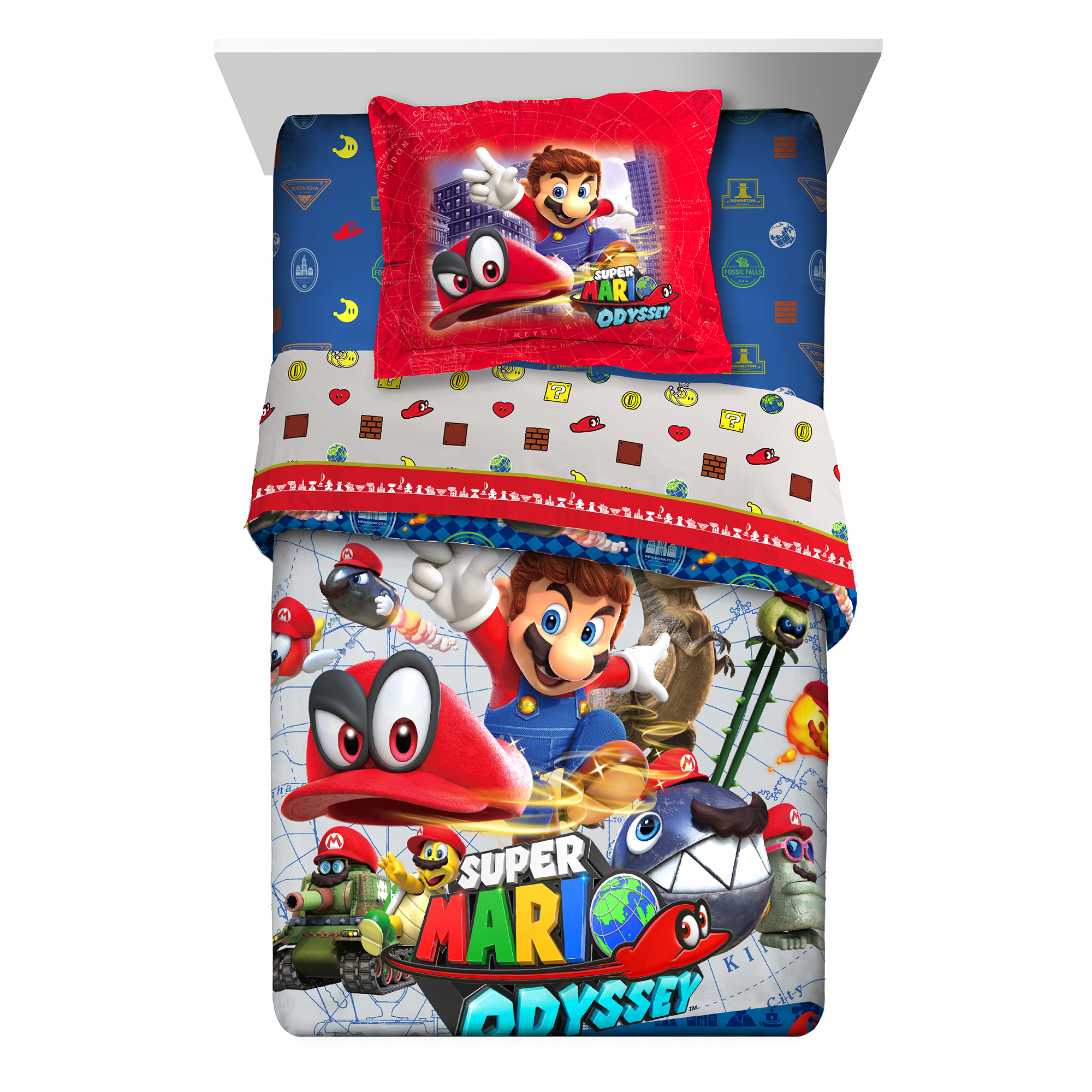 Nintendo Super Mario 'Odyssey Fun' 2 PC Kids Twin Full Comforter with Sham by Franco Manufacturing