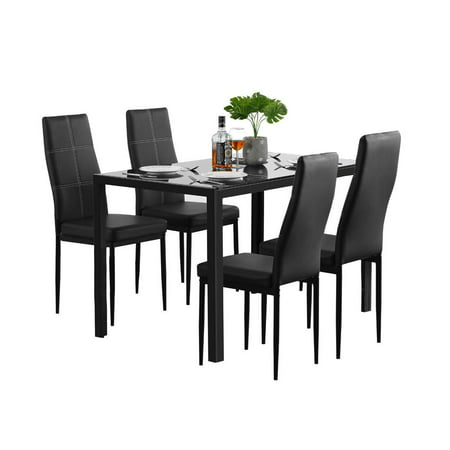 Zimtown 5 Pieces Modern Dining Table Set 4 Chair Glass Metal Kitchen Room Breakfast Furniture