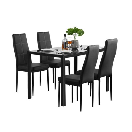 Zimtown 5 Pieces Modern Dining Table Set 4 Chair Glass Metal ...