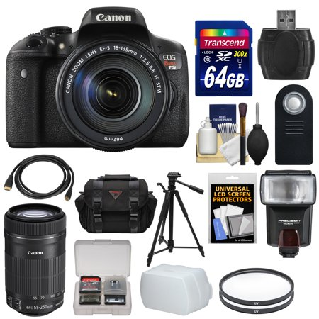 Canon EOS Rebel T6i Wi-Fi Digital SLR Camera & EF-S 18-135mm IS & 55-250mm IS STM Lens with 64GB Card + Case + Filters + Tripod + Flash + Kit